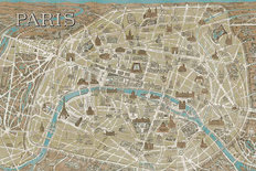 Monuments of Paris Map Wall Mural