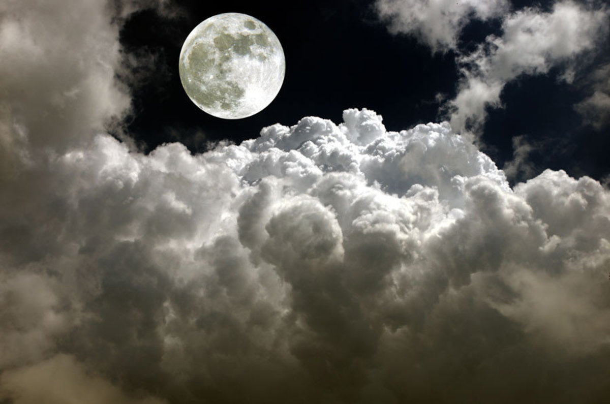 Full Moon Surrounded By Clouds Mural Wallpaper