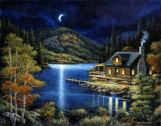Moonlit Cabin Wall Mural