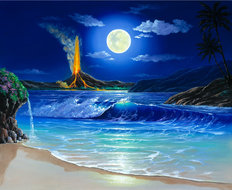 Moonlit Eruption Wall Mural
