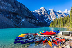 Moraine Lake Canoes Wallpaper Mural