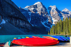 Moraine Lake Dock Mural Wallpaper