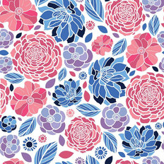 Mosaic Flowers Pattern Wallpaper