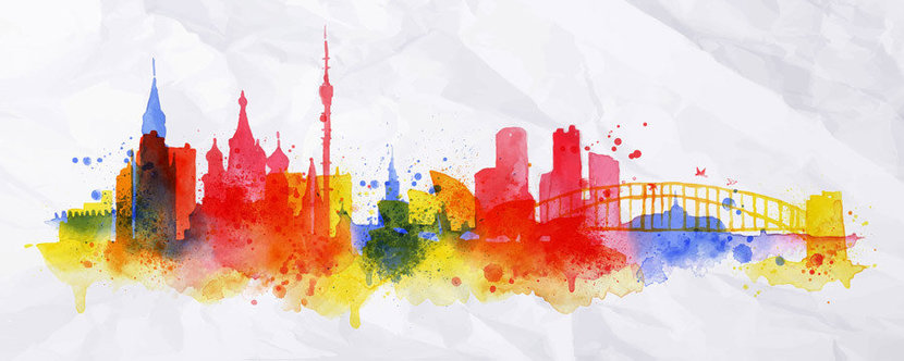 Portrayed in watercolors, the city of Moscow, Russia is silhouetted in bright, colorful splatters