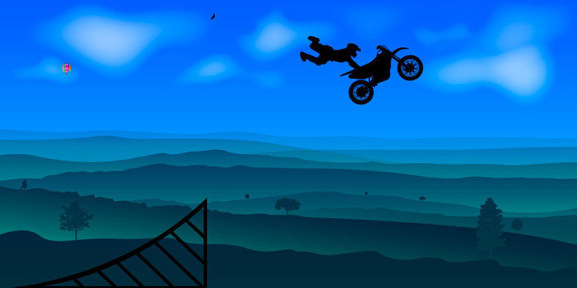 Motocross Superman With Mountains Wall Mural