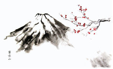 Mountain Fuji And Cherry Blossom Oriental Ink Wall Mural