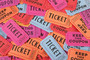 Colorful movie ticket collage