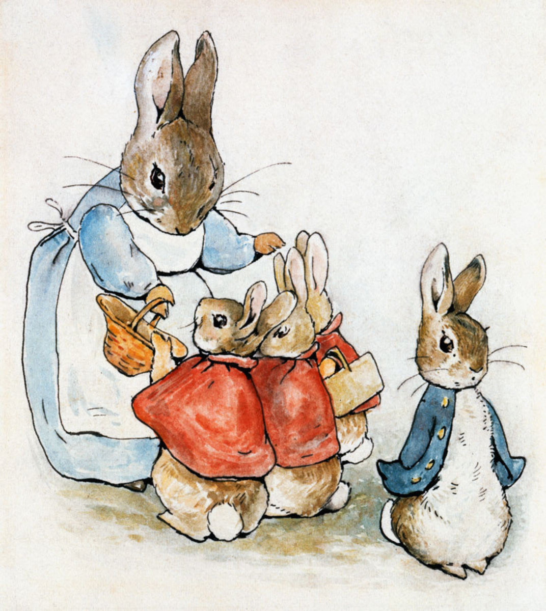 Mrs. Rabbit, in her blue dress and white apron, hands baskets to Flopsy, Mopsy and Cotton-tail while Peter Rabbit looks away