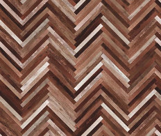 Multi-colored Herringbone Wood Wallpaper Mural