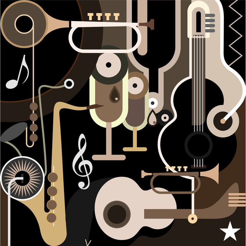 arrangement of musical instruments, music notes and other fun musical shapes