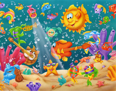 Musical Fish Mural Wallpaper