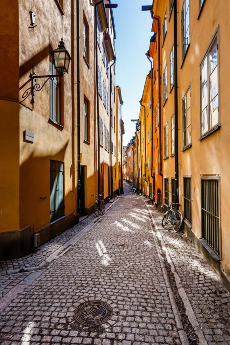 Narrow Street in Old Town Stockholm Wall Mural