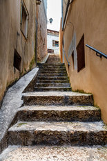 Narrow Street In The Medieval City Of Rovinj, Istria, Croatia Wall Mural