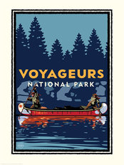National Parks Voyageurs Canoe Mural Wallpaper