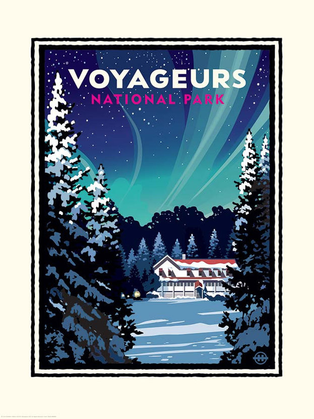 National Parks Voyageurs Kettle Falls In Winter Wall Mural