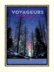 National Parks Voyageurs Winter Fire Mural Wallpaper