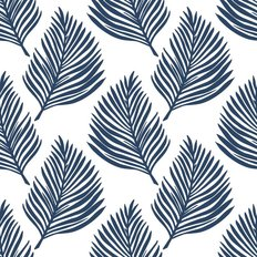 Navy Fern Leaf Pattern Wallpaper