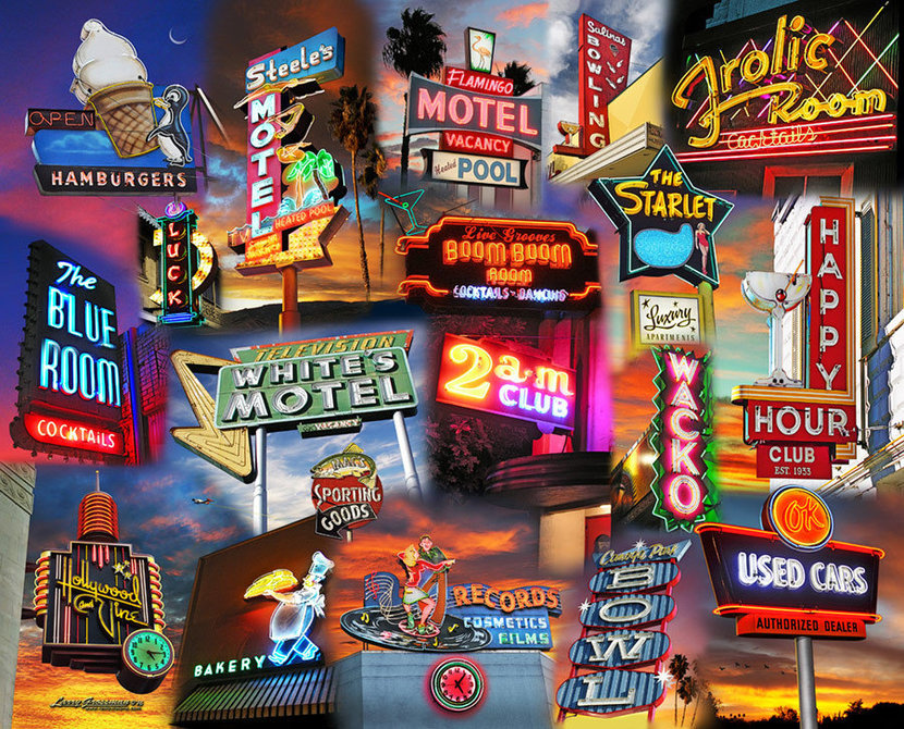 collage of retro neon signs