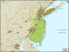 New Jersey Map Wall Mural