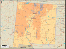 New Mexico Map Wallpaper Mural
