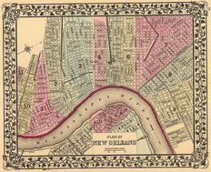 New Orleans, LA 1880 Map Mural Wallpaper