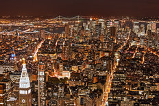 New York City Night HDR Mural Wallpaper