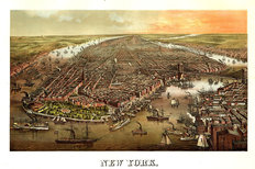 New York City, NY 1873 Wall Mural