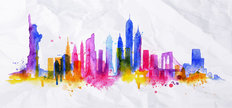 New York Splash Skyline Mural Wallpaper