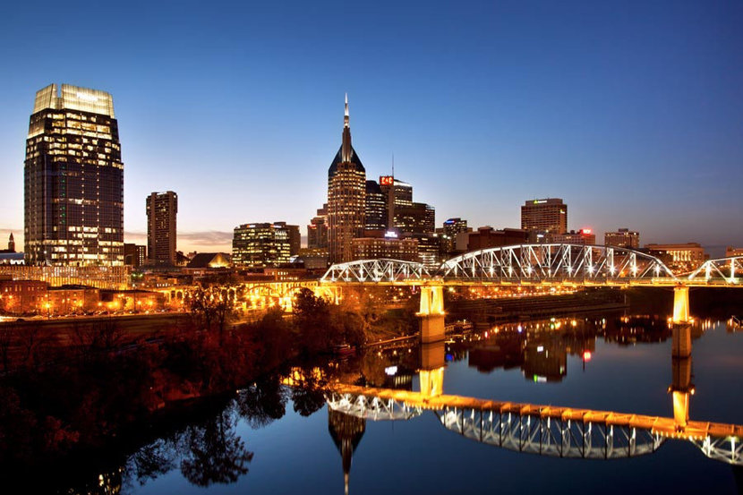 Night Lights in Nashville Tennessee Wall Mural