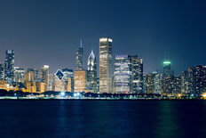 Night View On Chicago Skyline Mural Wallpaper