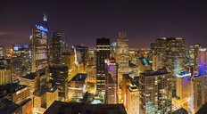 Nighttime View Of Chicago Skyline Wall Mural