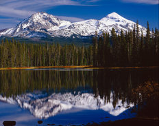 North and Middle Sisters Reflect Scott Lake Mural Wallpaper