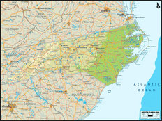 North Carolina Map Mural Wallpaper