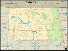 North Dakota Map Wallpaper Mural