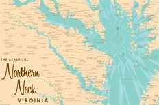 Northern Neck Lake Map Wall Mural