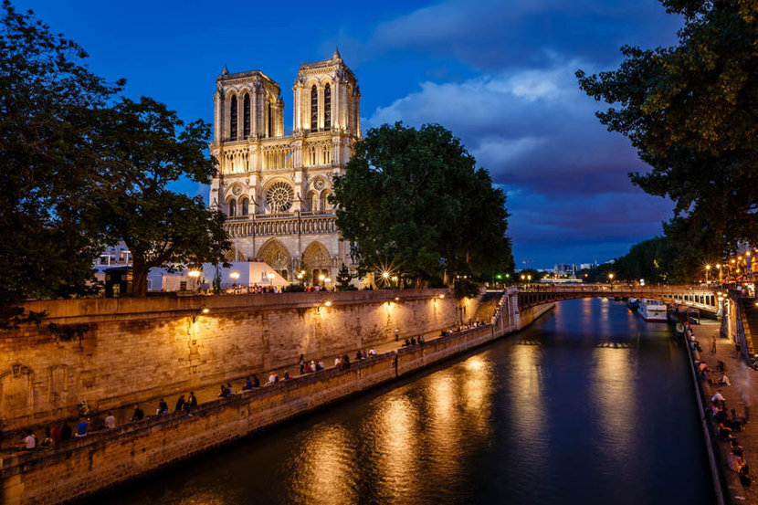 Notre Dame Cathedral And Seine River  Mural Wallpaper