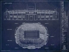 Notre Dame Stadium Blueprint Wallpaper Mural