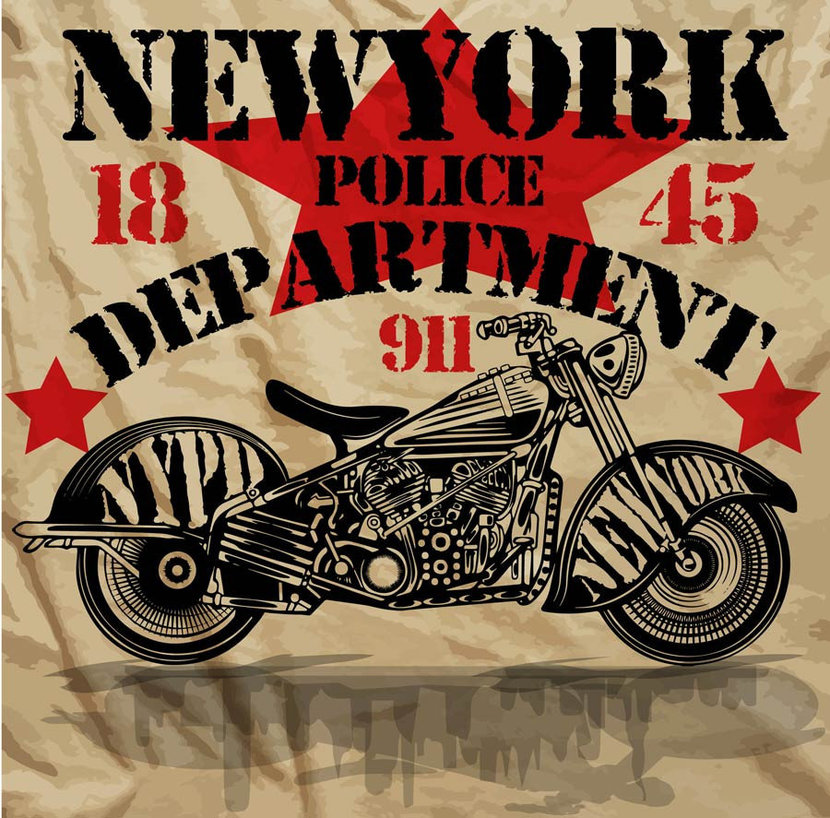 Vintage New York Police Department motorcycle poster
