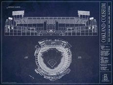 Oakland Coliseum Blueprint Wallpaper Mural
