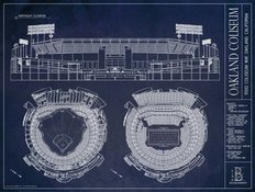Oakland Coliseum Blueprint (Ver. 2) Wallpaper Mural