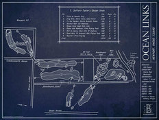 Ocean Links Golf Course Blueprint Wall Mural