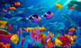 ocean mural full of colorful fish