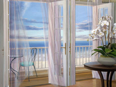 Ocean View with Orchid Mural Wallpaper