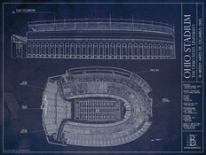 Ohio Stadium Blueprint Wall Mural