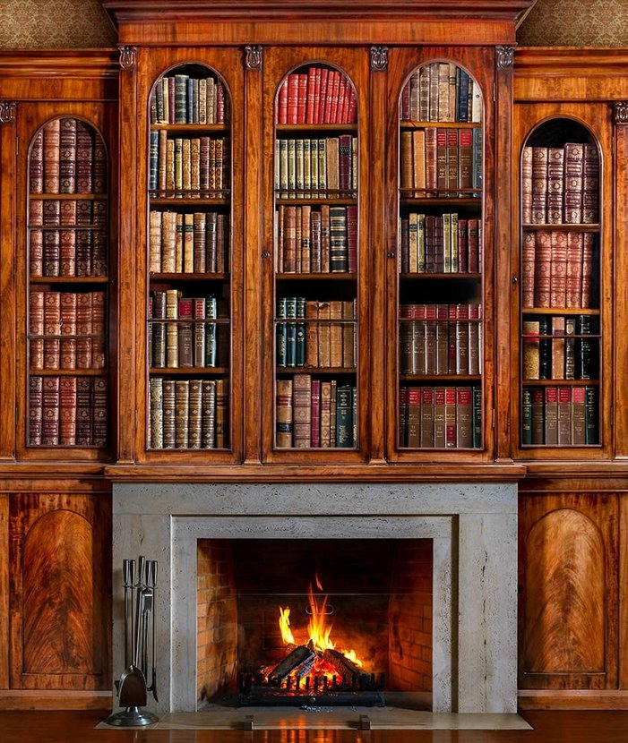 Old Antique Bookcase And Fireplace Wall Mural.jpg
