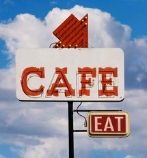 Retro Cafe Sign Wall Mural