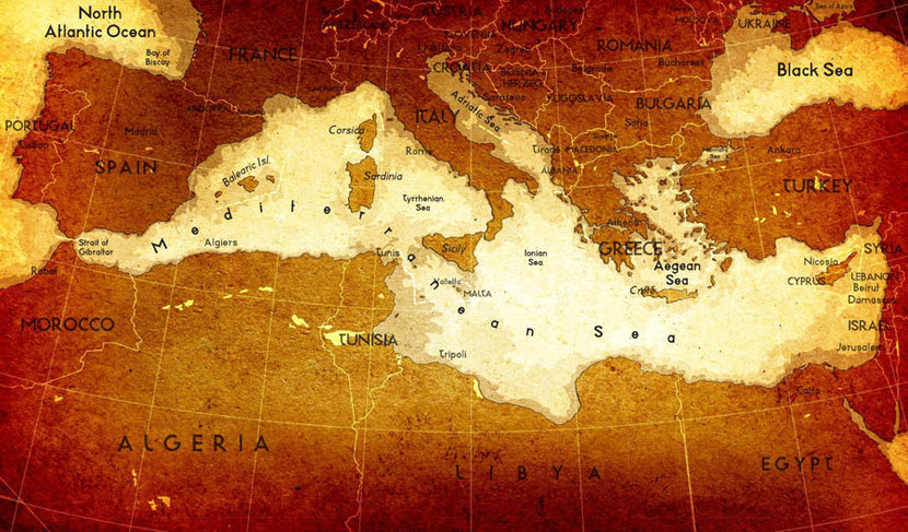 Old Mediterranean Map Mural Wallpaper