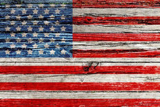 Old Painted American Flag Mural Wallpaper