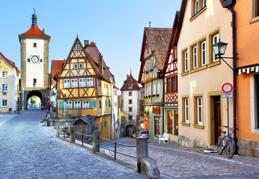 Old street in Rothenburg, Germany with houses, medieval homes, and beautiful architecture