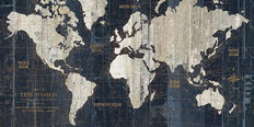 Old World Map Blue Wall Mural